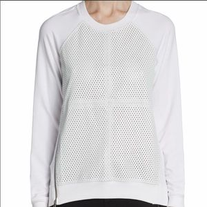 Aiko White Zipper Eyelet Sweater Size M